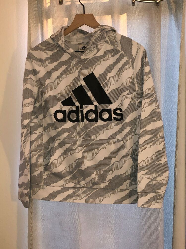 Adidas boys hoodie sweatshirt pullover Gray Size large 1416
