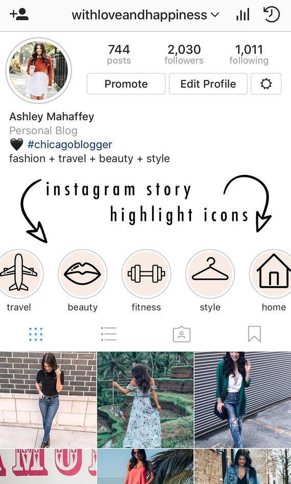Instagram story highlight icons very light blush/pink