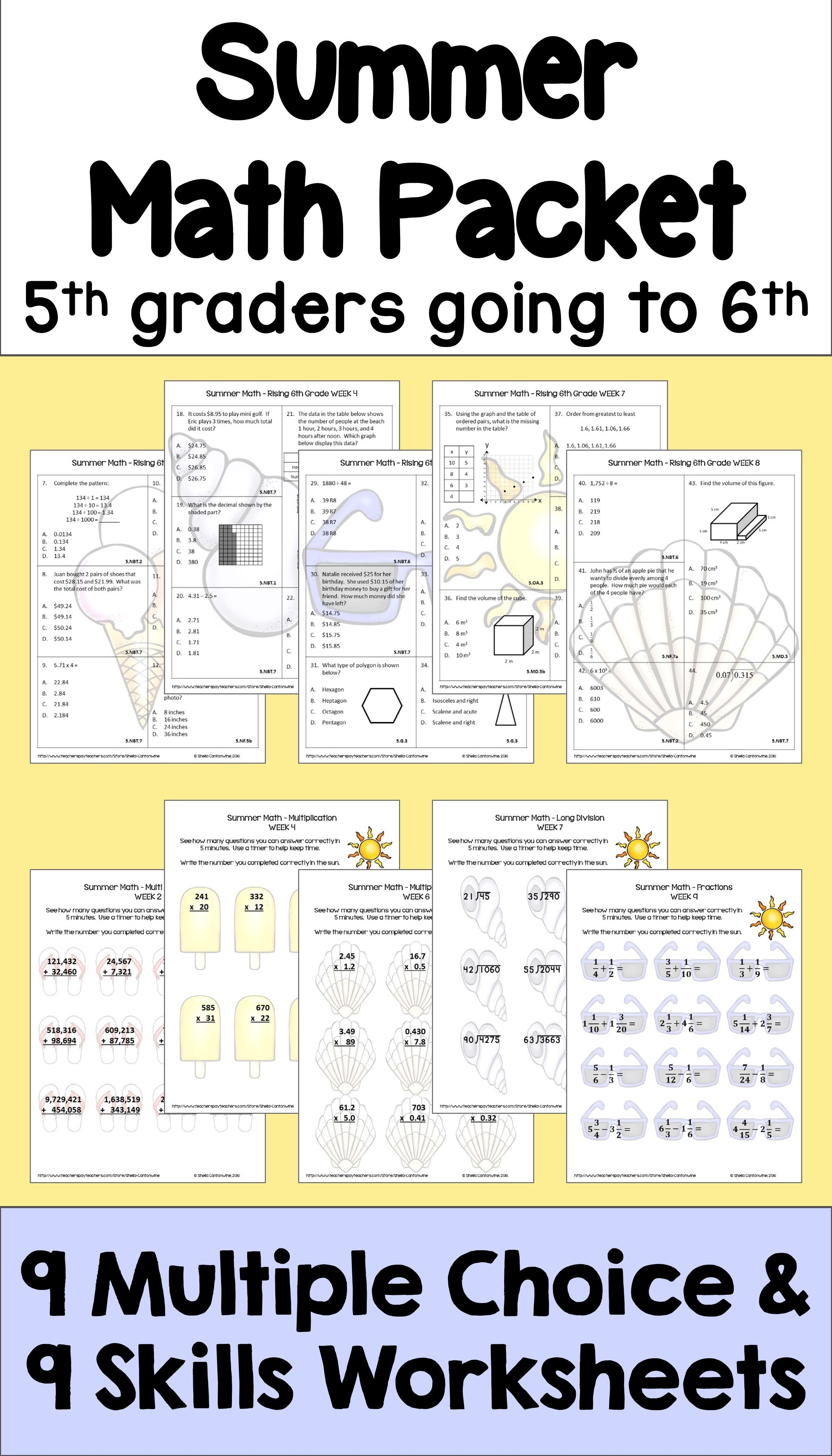 Summer Math for Rising 6th Graders - Review of 5th Grade Math ...
