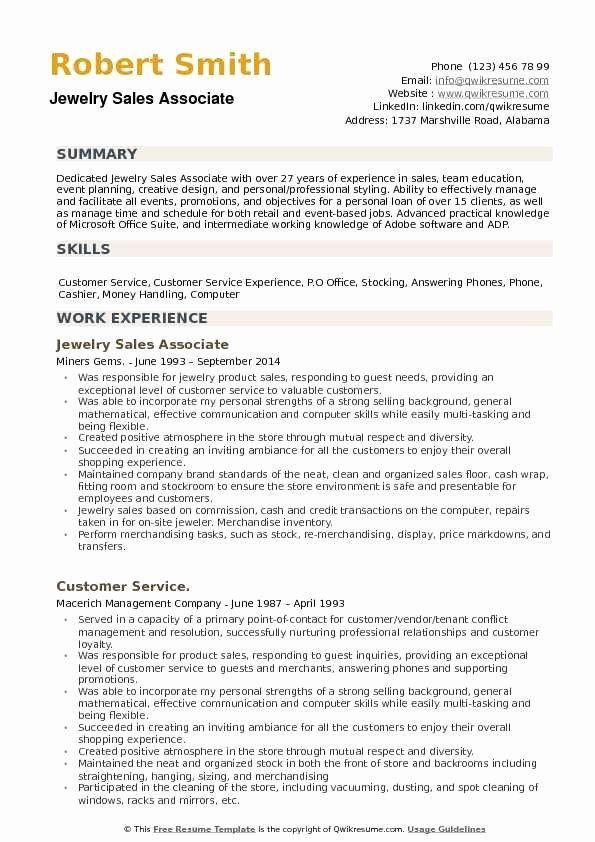 Jewelry Sales Associate Resume Inspirational Jewelry Sales Associate Resume Samples