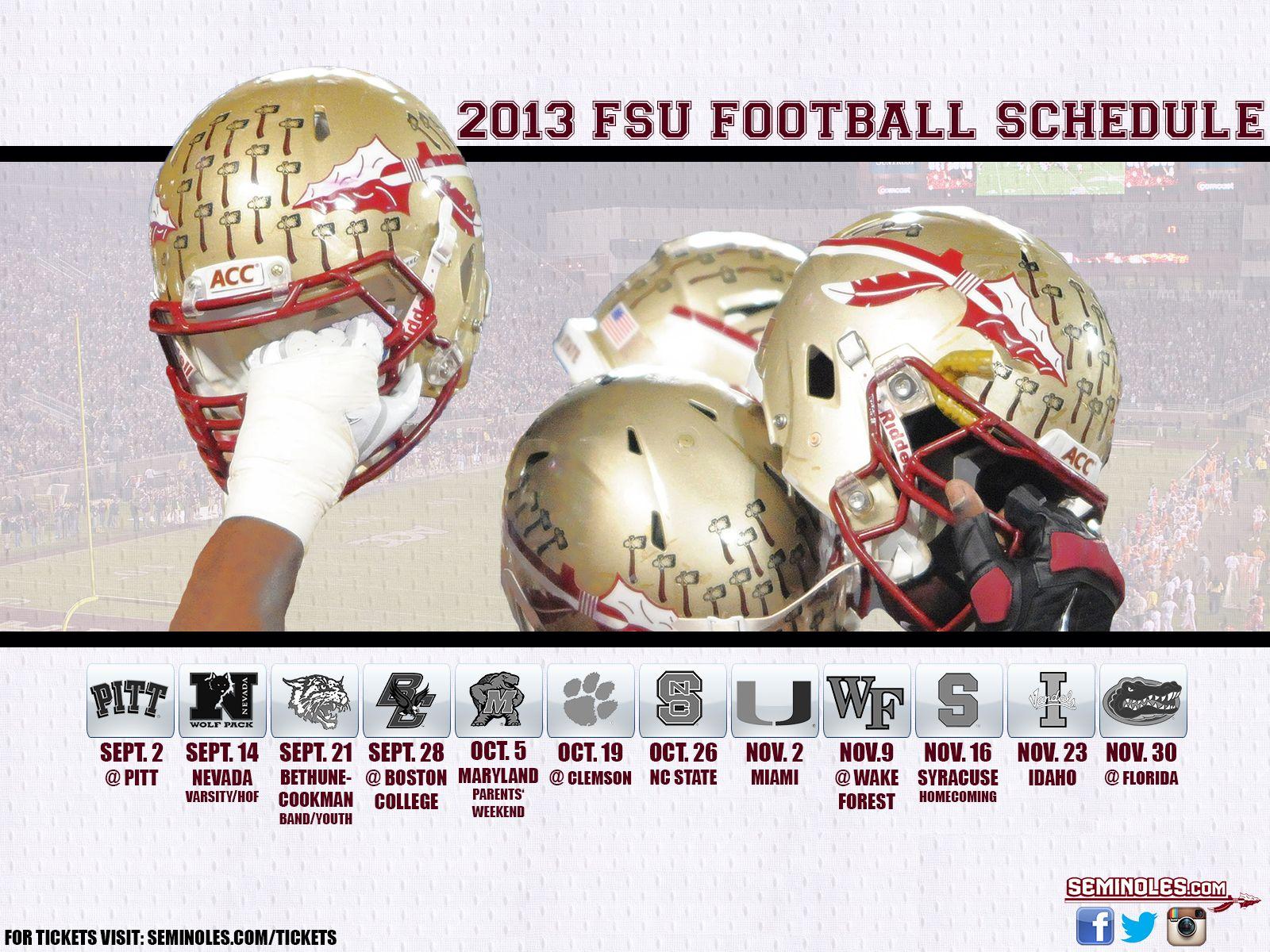 2013 Fsu Schedule R U Ready For Some Football Noles