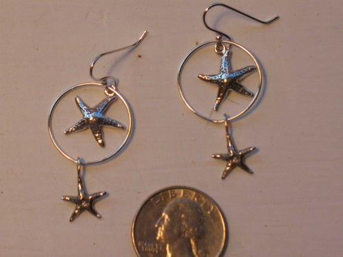 Sterling silver double starfish charm earrings   ZeeEyesLikeIt - Jewelry on ArtFire