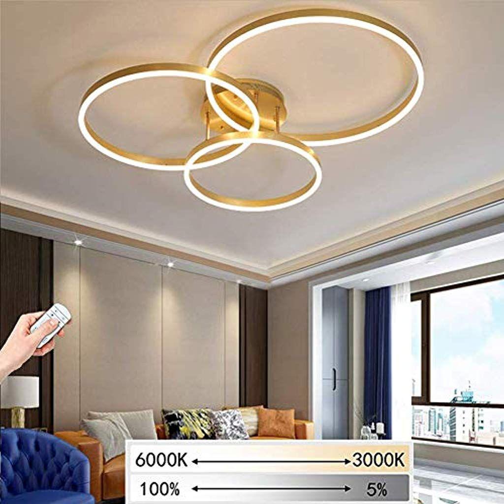 Giow Led Deckenleuchte Wohnzimmer Lampe Schlafzimmer Kinderzimmer Deckenlampe Gold Runde Ringe 3 Flammen Deckenleuchte Wohnzimmer Beleuchtung Decke Beleuchtung