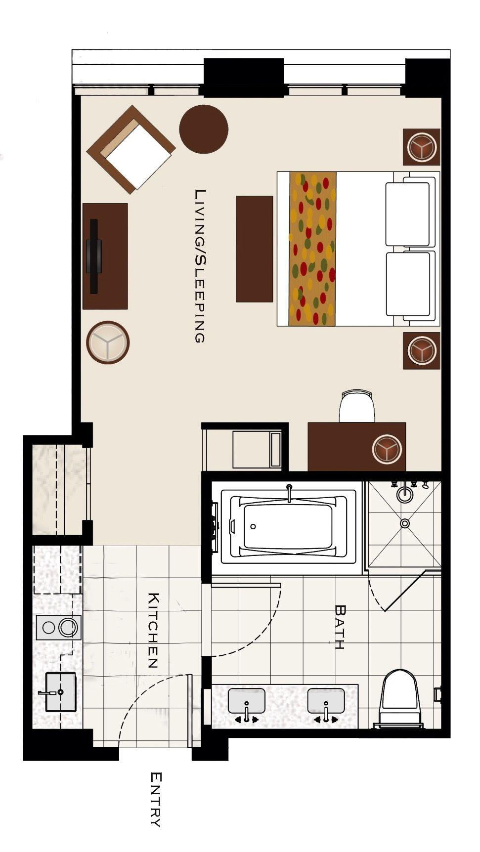 Hotel Room Plan: TRUMP INTERNATIONAL HOTEL WAIKIKI Superior Room