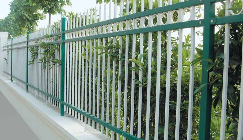 Green And White Metal Fence Backyard Fences Fence Landscaping Fence Design