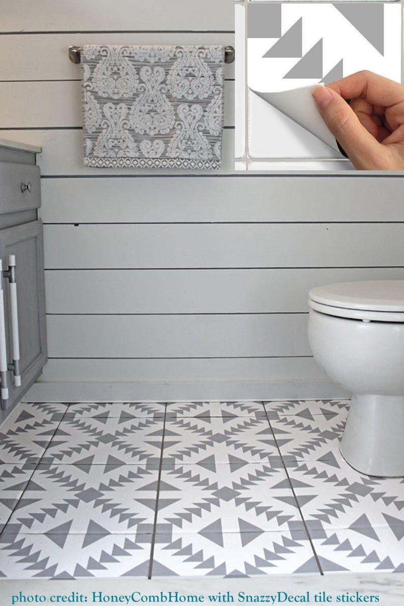Tile Stickers Vinyl Decal Waterproof Removable For Kitchen Etsy In 2021 Flooring Diy Bathroom Bathroom Flooring