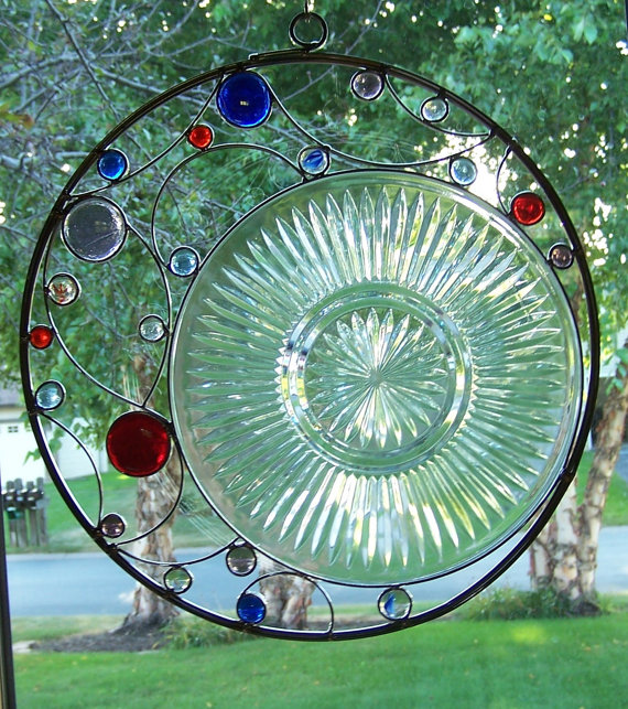 Upcycled Stained Glass Suncatcher by sawtoothstainedglass on Etsy