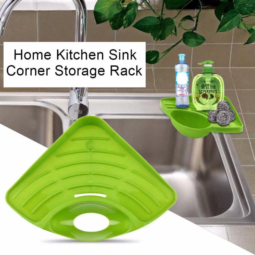 Modern Design Home Kitchen Sink Corner Storage Rack Solid Color Sponge Drainboard Bathroom Holder Kitchen Storage Boxes Kitchen Storage Kitchen Drawer Storage
