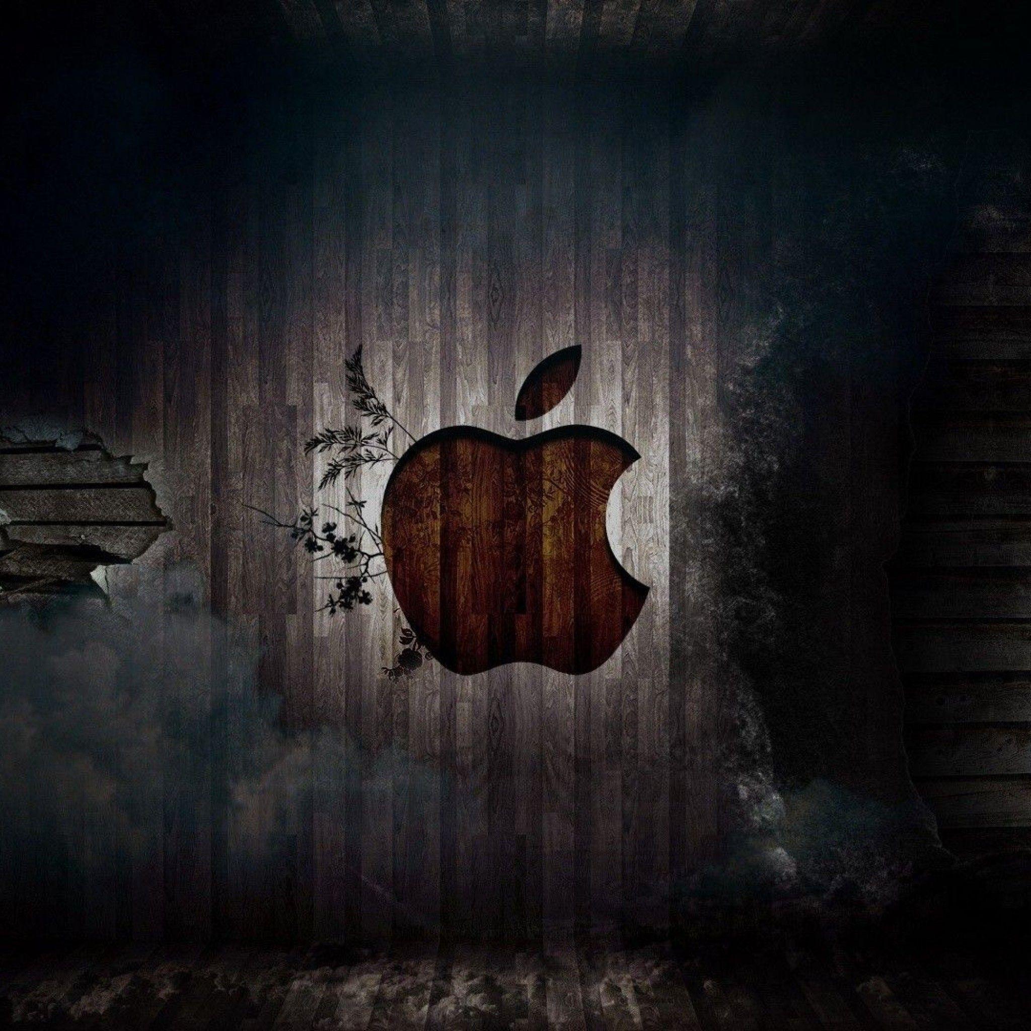 木目にアップルの刻印 Iphone壁紙 Iphone 5壁紙 壁紙