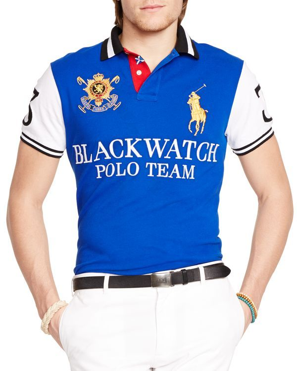 f341bbed Polo Ralph Lauren Black Watch Custom-Fit Pieced Polo Shirt - Slim Fit