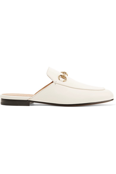 dc2f6d72f40 Love this by GUCCI Princetown Horsebit-Detailed Leather Slippers in White -   626. Heel measures approximately 10mm  0.5 inches Off-white leather (Goat)  Slip ...