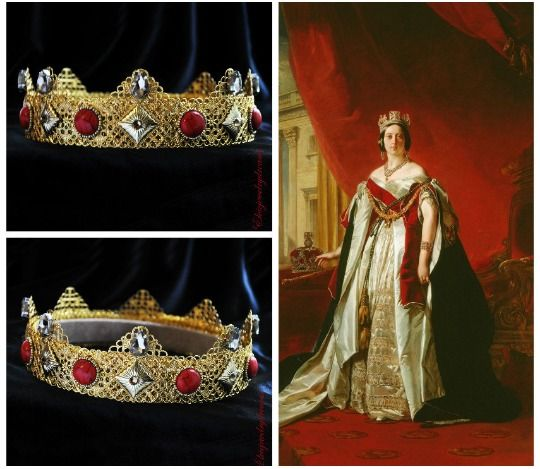 MENS LADIES KING QUEEN MEDIEVAL TUDOR ROYAL CROWN RED GOLD FANCY DRESS HAT NEW