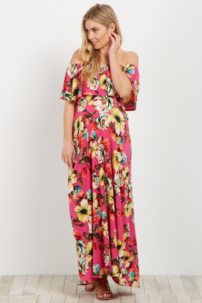 6f425a4abd9cf Fuchsia Floral Off Shoulder Maxi Dress | Summer Maternity Style ...