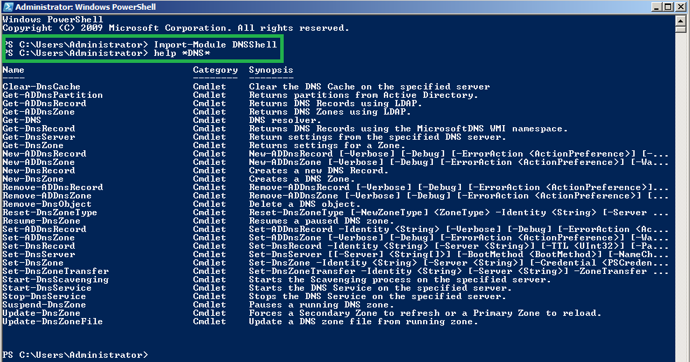 Importing DNSShell module and list all available cmd-lets