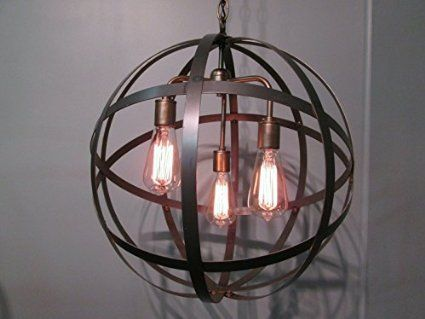 industrial steel orb sphere wine barrel ring chandelier 3 light antique brass ceiling light fixture