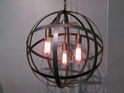 Steel Orb Sphere Wine Barrel Ring Chandelier 3 Light Antique Br Ceiling Fixture