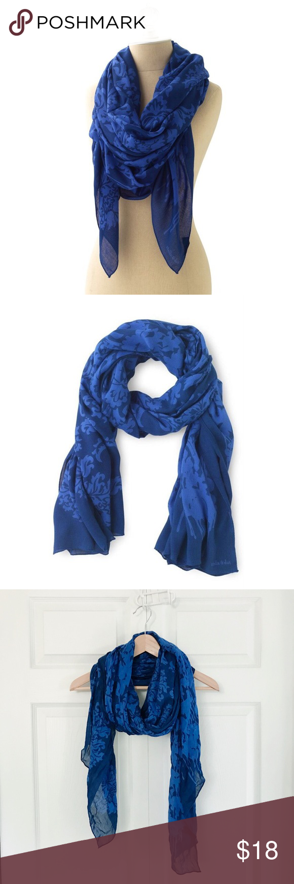 """Stella & Dot blue floral Bryant Park scarf / wrap Add a pop of color to any outfit with this luxuriously printed blue and navy rayon scarf from Stella & Dot. Generous 70"""" x 38"""" size means that can be worn so many ways. Go to YouTube and search for """"6 Ways to tie your Stella & Dot Scarf"""" by BStyled by Beth - she gives some great ideas that you may not know of yet!! Thin fabric means it folds up quite small for travel - perfect piece for airplane travel. In great condition; no snags or holes…"""