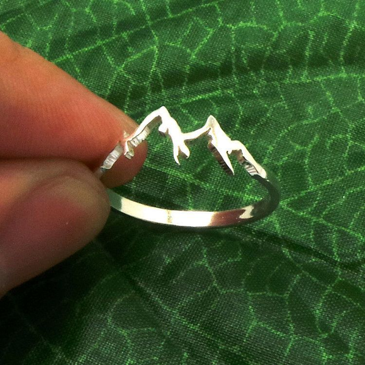 Sterling Silver Mountain Range Ring Nature Motivation