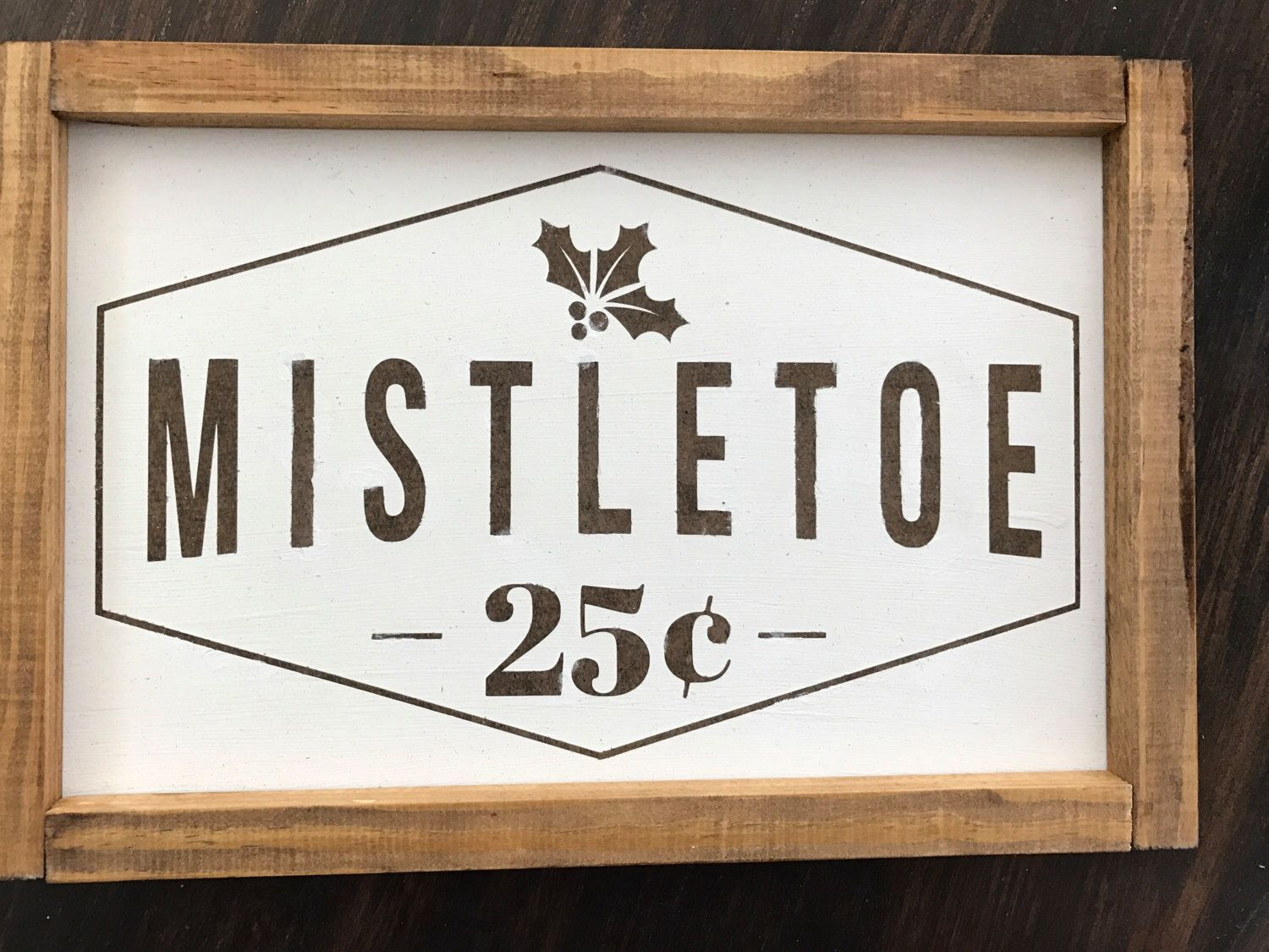 Mistletoe Wood Framr Sign Christmas decor handpainted by TheColoredUmbrella on Etsy https://www.etsy.com/listing/497990637/mistletoe-wood-framr-sign-christmas