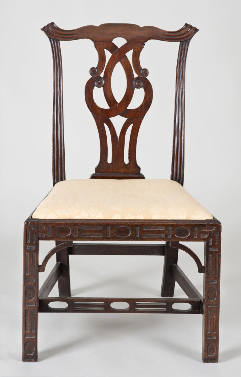 Georgian Mahogany Chinese Chippendale Side Chair With Interlaced Pierced Back Splat Reeded Rails