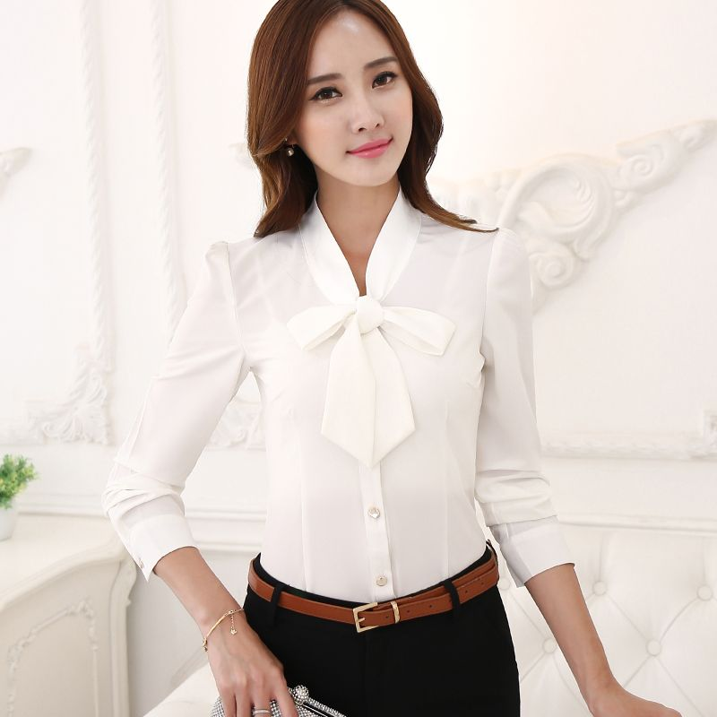 84b3624817d Fashion female Korean Style long sleeve bow shirt OL office Formal elegant  ruffles chiffon women blouse