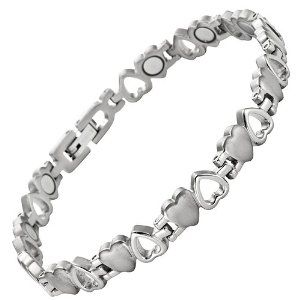 Willis Judd New Ladies Love Heart Titanium Magnetic Bracelet In Free Black Velvet Gift Tool + Free Link Removal Tool vacrQ