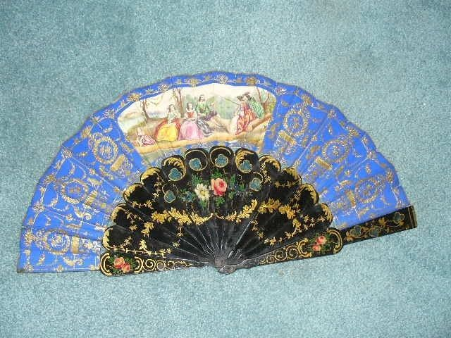 ANTIQUE HAND PAINTED ENAMELED WOOD ASIAN FAN CHINA JAPAN