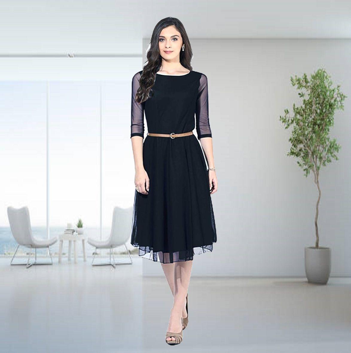 Plain Black Western Top With Belt B4u Fashion Western Tops Fashion Western Dresses [ 1180 x 1174 Pixel ]