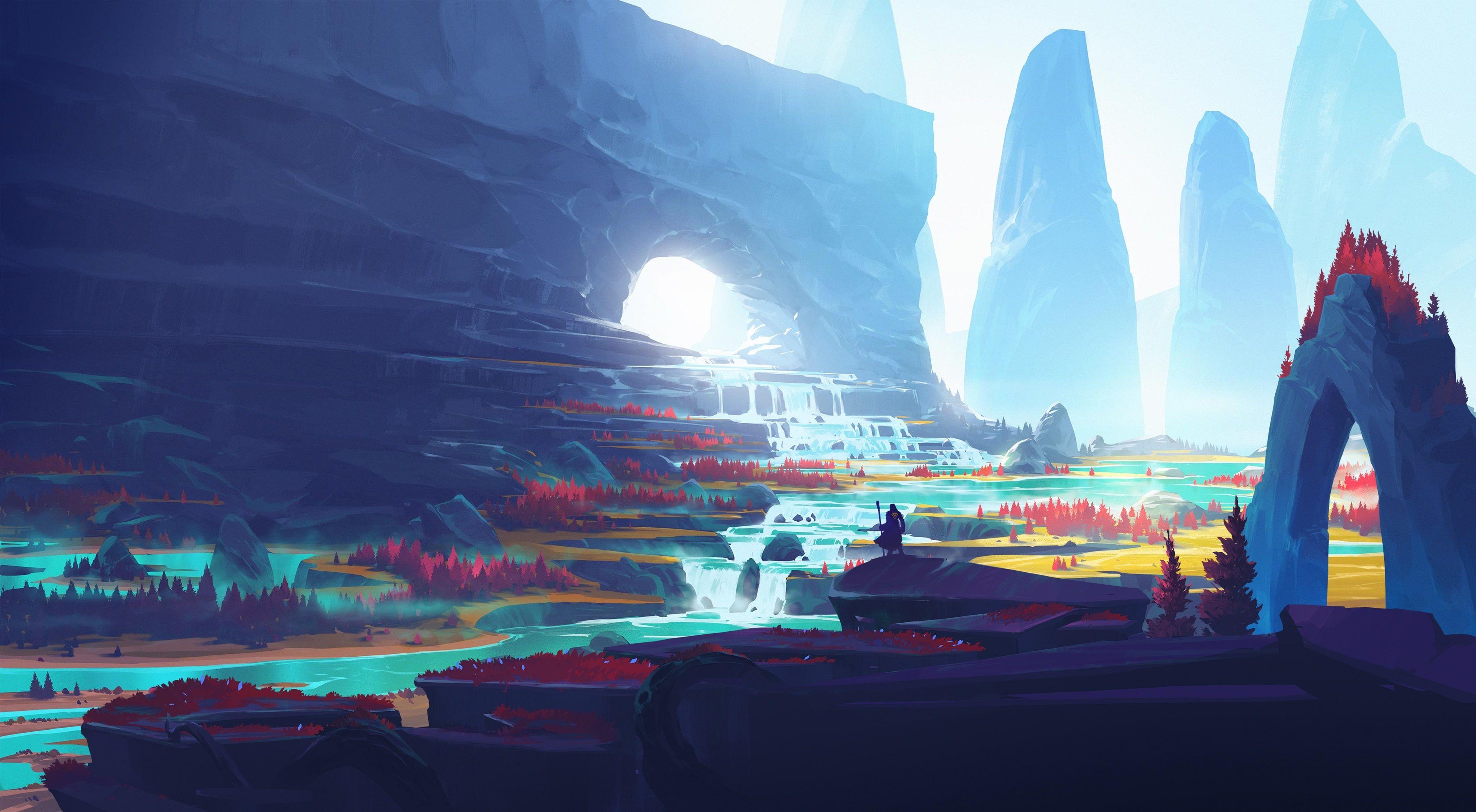 Digital Art Warrior Landscape Mountains Duelyst Video Games Illustration Artwork 2k Wallpaper Hdwallpaper Deskt In 2020 Landscape Wallpaper Desktop Wallpaper