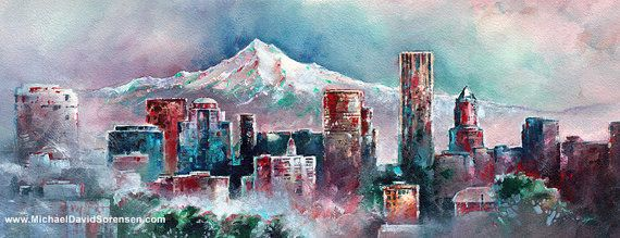 Portland Oregon Watercolor And Acrylic Painting By Michael