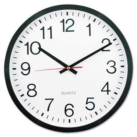 Universal Round Wall Clock 12 5 8 Inch Dia Black Unv10431 Wall Clock Round Wall Clocks Large Clock Face