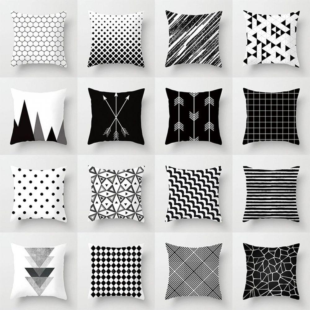 black and white polyester throw pillow