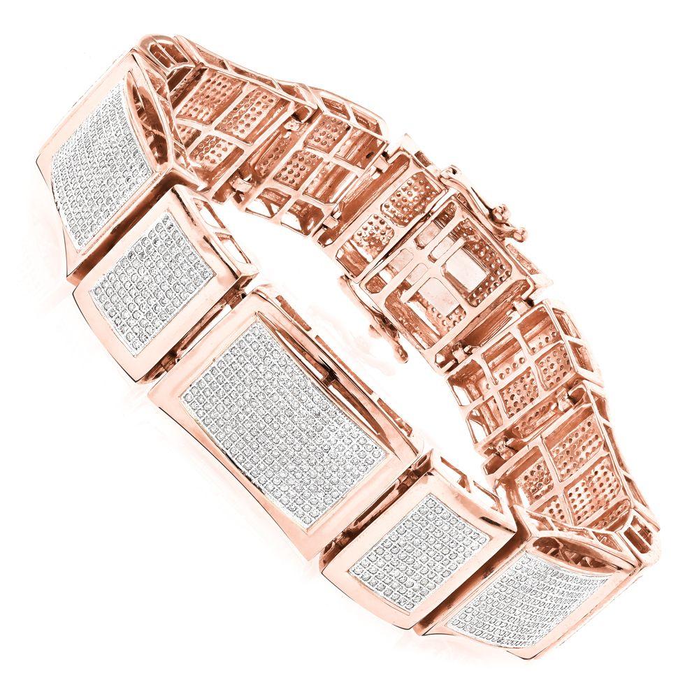 Mens Bracelets 10K Gold Mens Diamond Bracelet 5.5ct   Diamond ...