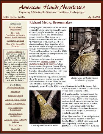 """The first issue of the """"American Hands Newsletter"""" features photos and a story about Richard Moore, the broommaker, among other information about the project."""