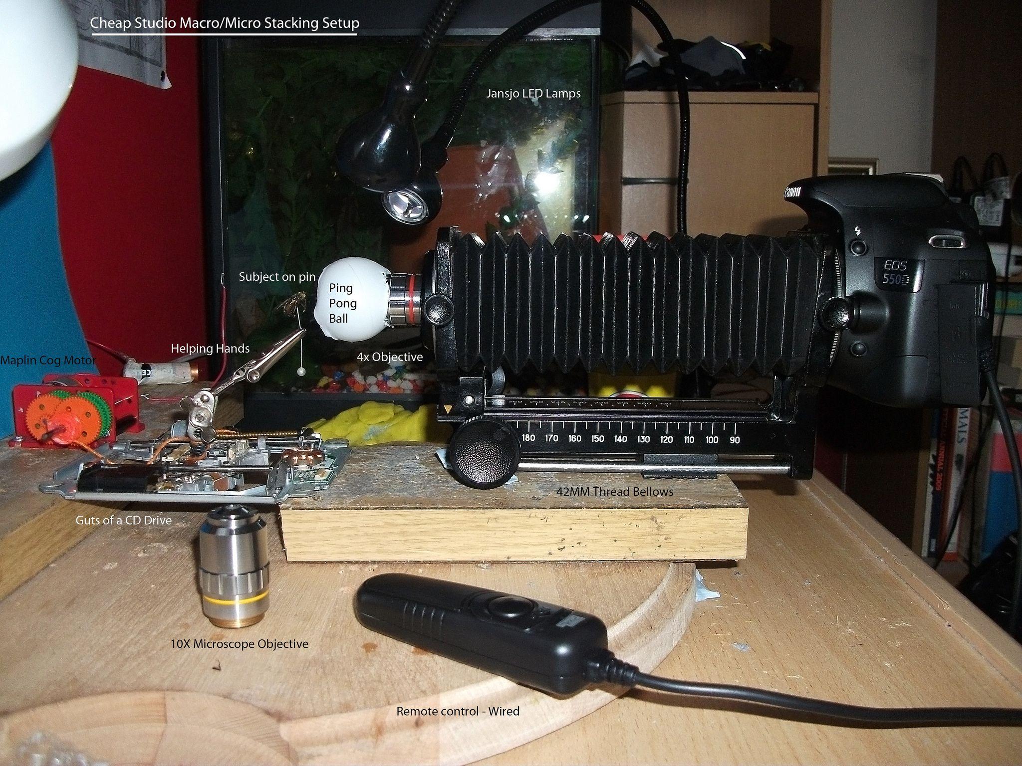 Cheap Macro Micro Studio Stacking Photography Setup. Cheap Macro Micro Studio Stacking Photography Setup   Macro