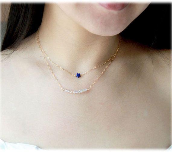 Clear Swarovski Crystal Bar Necklace 14k Gold Filled By Youyou965