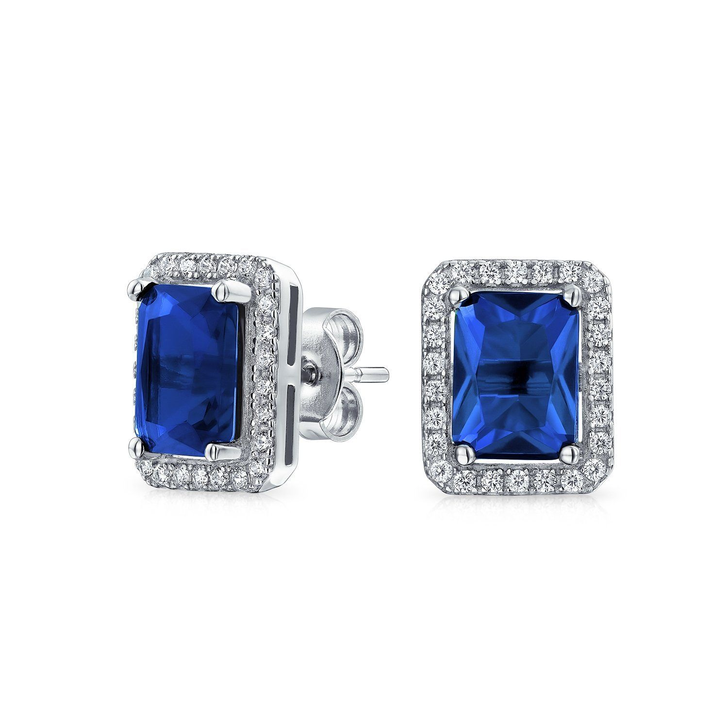 Bling Jewelry Simulated Sapphire September Birthstone CZ Stud