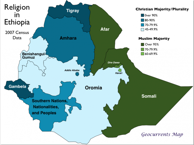A religion map of Ethiopia Ethiopia Pinterest