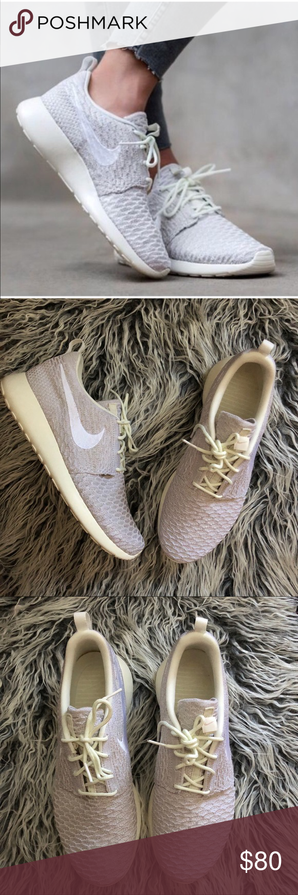 01342591c23 Women s Nike Roshe One Flyknit Brand new with the box but no lid. Runs a  bit large. Best for wide 10.5 or size 11. Off White color Nike Shoes  Athletic Shoes