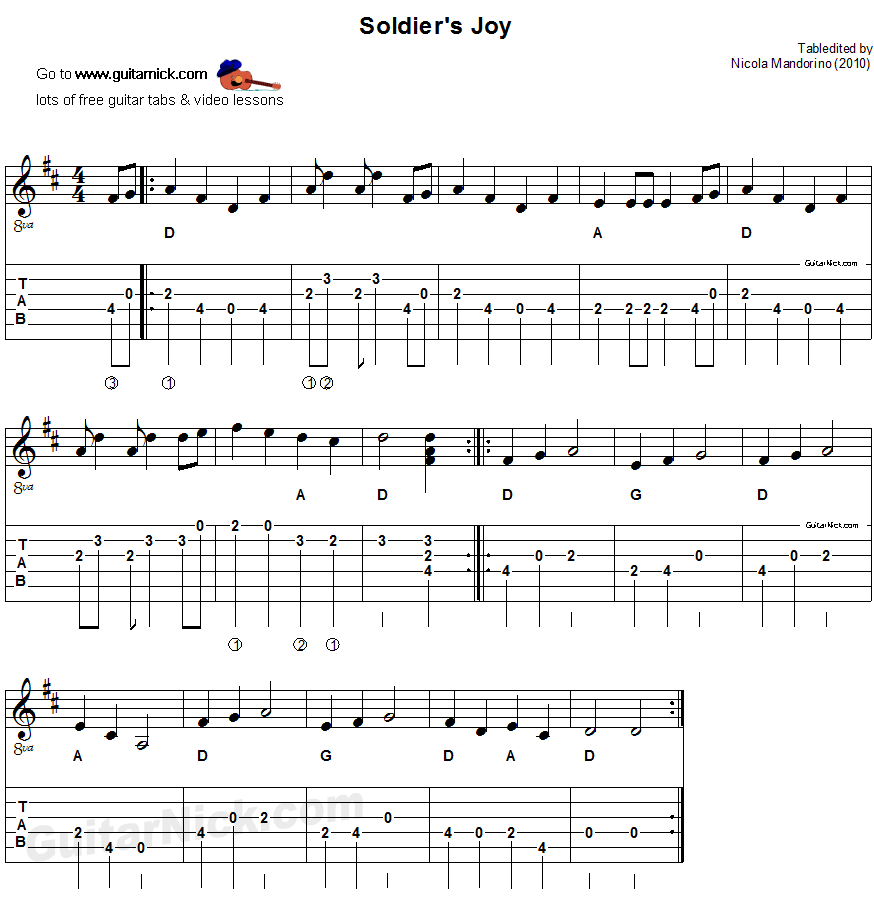 Acoustic Flatpicking Guitar Tab, Chords