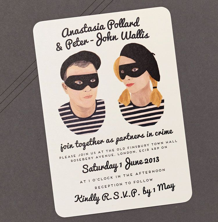 Partners in Crime Illustrated Portrait Wedding Invitation