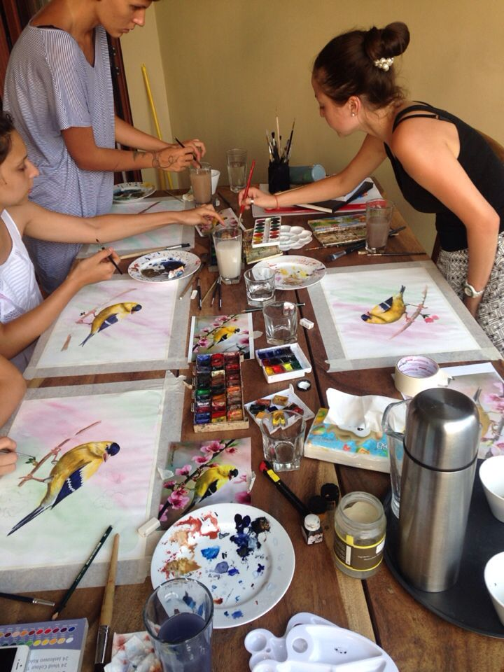 My painting lesson in Changu Bali.