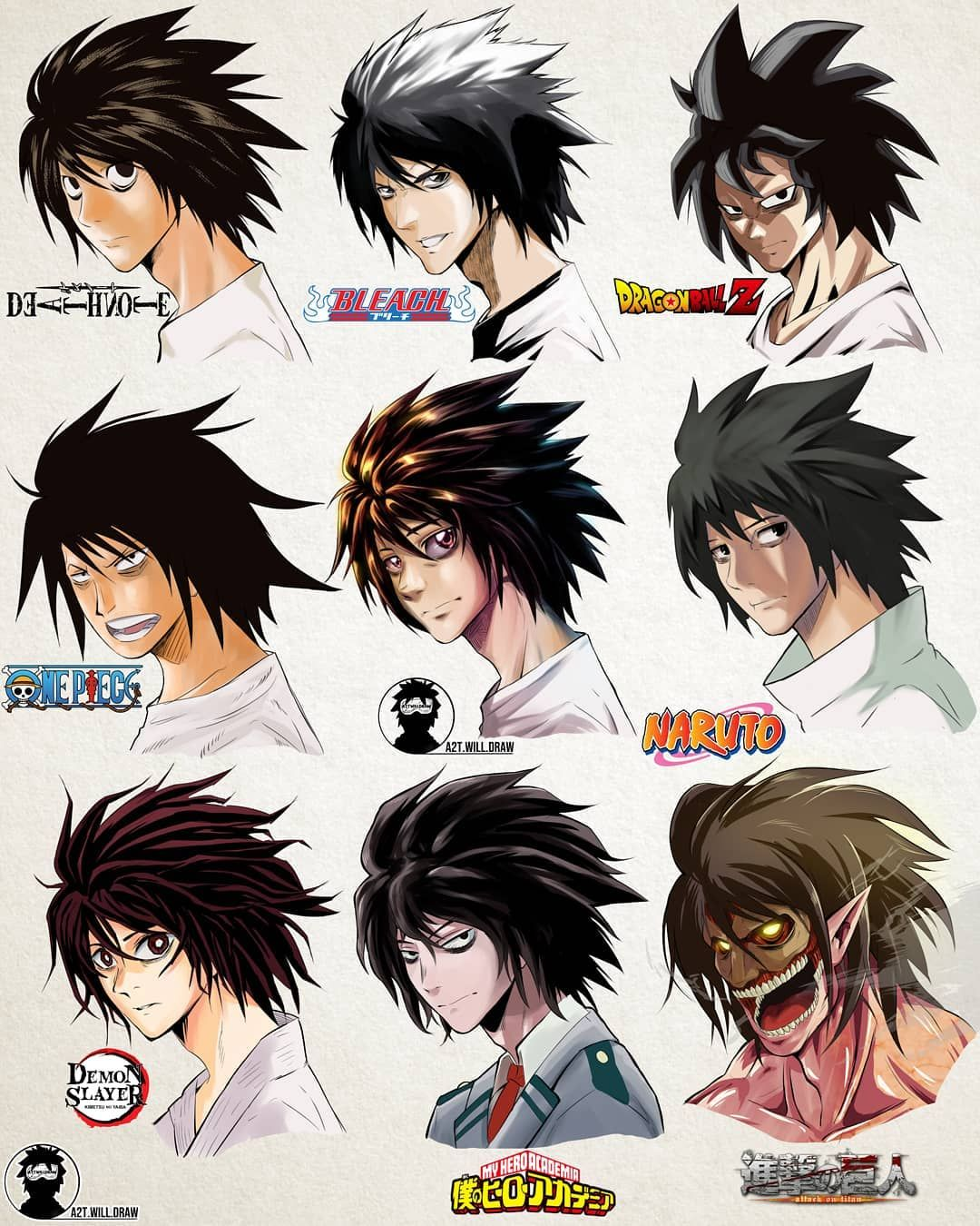 L In Different Manga Styles By A2t Will Draw Personagens De Anime L Death Pixar Desenhos