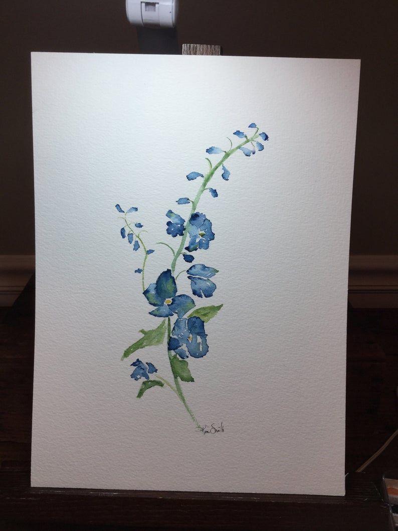 Fleur Delphinium Bleu Aquarelle Etsy Acuarela