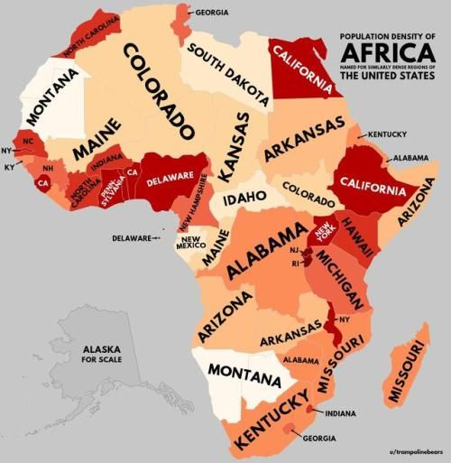 Population density of Africa with US equivalents [[MORE]]by