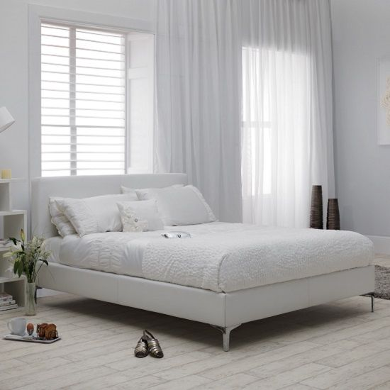 Lovely Ariana Small Double Bed In White Faux Leather With Chrome Legs Buy Modern Bed Furniture In Fashion Simple - Latest chrome bed frame Plan