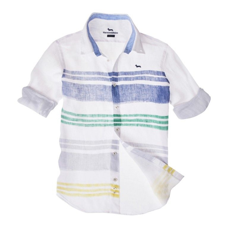 357619fc19 SHIRT WITH PAINTERLY STRIPES - WHITE/GREEN/BLUE - Harmont & Blaine Online  Store