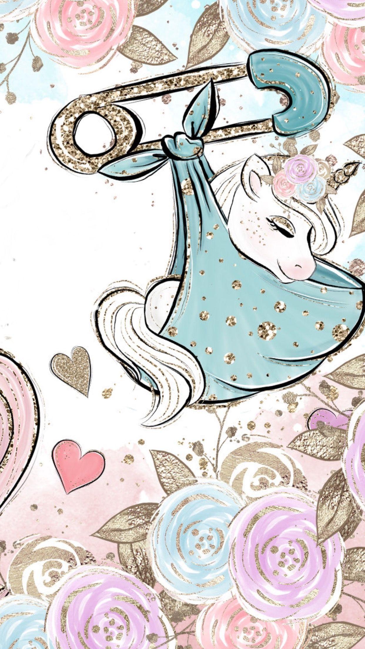 Aww Baby Unicorn Being Delivered Unicorns Wallpaper Unicorn