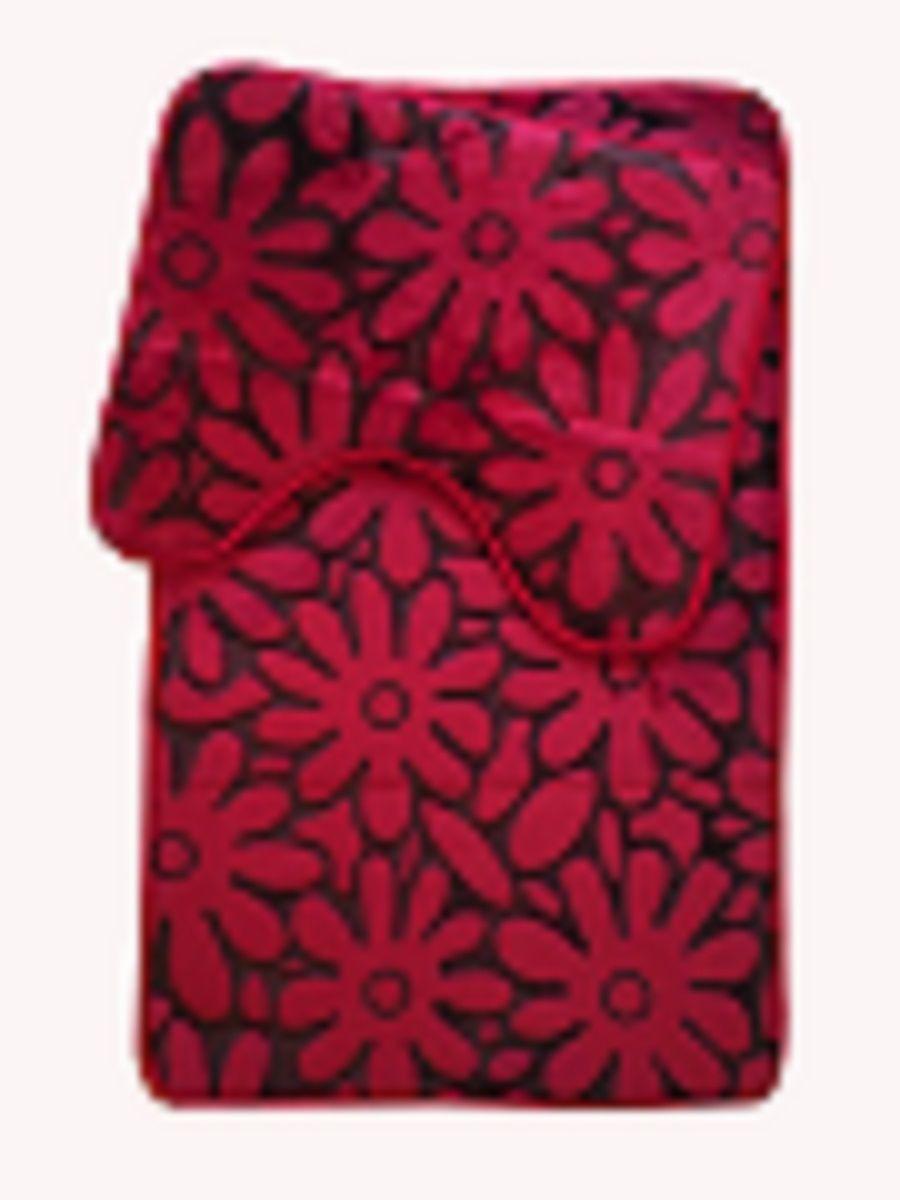 Floral Burgundy Red Memory Foam Non Slip Bath Mats White Linen