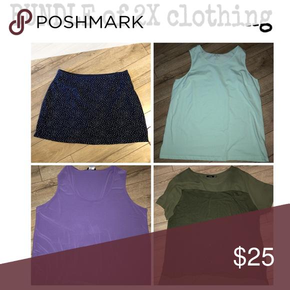 Bundle Of Four Pieces Size 2x Clothing Skort Coral Bay Purple Blouse